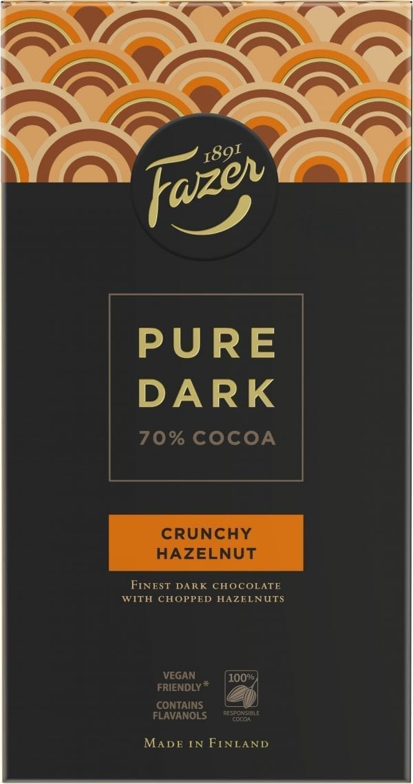 pure dark crunchy hazelnut chocolate bar