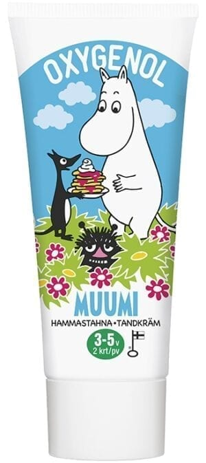 moomin oxygenol toothpaste for three to 5 year old children