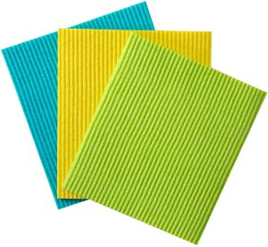 blue yellow and green cleaning cloths
