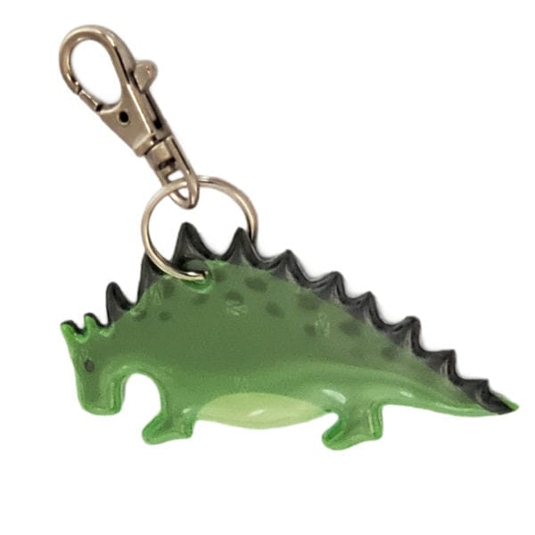 clip-on green dinosaur reflector