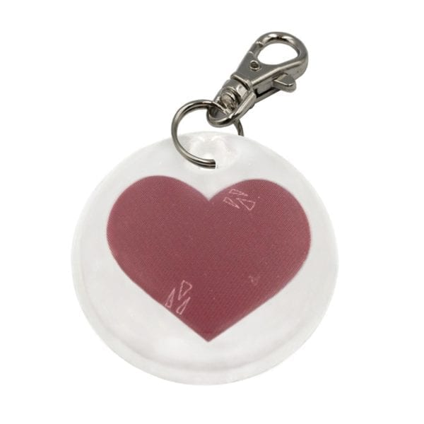 round reflective dog tag with red heart