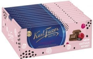 box of raspberry licorice chocolate bars